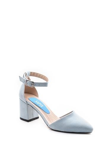 Sapin Kalın Topuklu Sivri Burun Ayakkabı Mavi